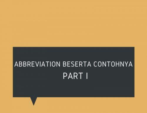 Abbreviation Beserta Contohnya Part I