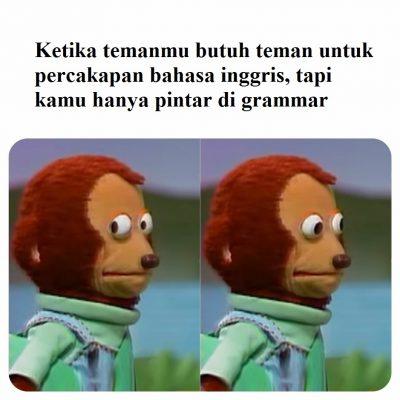 meme monyet grogi bahasa inggris